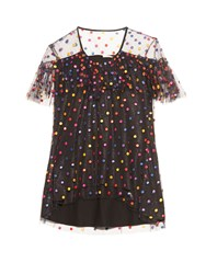 Marco De Vincenzo Polka Dot Embroidered Tulle Top