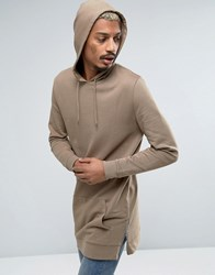 Asos Oversized Super Longline Hoodie With Side Zips Sand Dune Beige