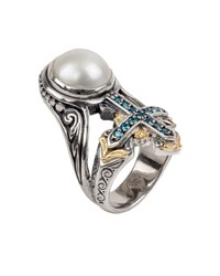 Konstantino Thalia Pearl And Blue Spinel Cross Ring Yellow Gray