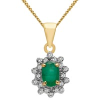 A B Davis 9Ct Gold Oval Precious Stone And Diamond Cluster Pendant Necklace Yellow Gold Emerald