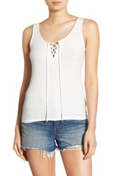 Women's Bp. Lace Up Ribbed Tank White