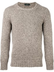 Zanone Fisherman Knit Jumper Brown