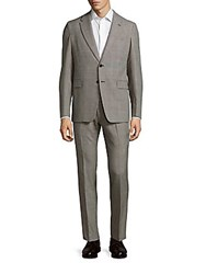 Valentino Two Button Virgin Wool Suit Tan