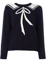 Chinti And Parker Bow Tie Detail Jumper Blue