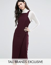 Alter Tall Wrap Front Dress With Square Neck And Cutaway Front Detail Plum Red
