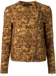 Andrea Marques All Over Print Jacket Women Cotton Spandex Elastane 42 Brown