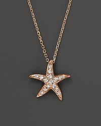Bloomingdale's Diamond Starfish Pendant Necklace In 14K Rose Gold .14 Ct. T.W. Pink