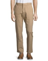Black Brown Tailored Fit Flat Front Dobby Pants Medium Tan