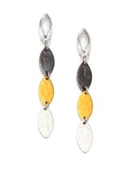 Gurhan Willow 24K Yellow Gold And Sterling Silver Leaf Flake Linear Drop Earrings