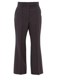 Acne Studios Patrina High Rise Pinstriped Wool Trousers Navy