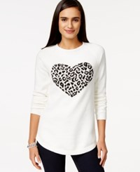 Styleandco. Style And Co. Shine Leopard Heart Tunic Sweater Only At Macy's White