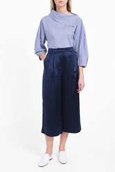 Tibi Women S Satin Cropped Trousers Boutique1 Navy