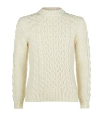 Saint Laurent Cable Knit Wool Jumper Male Cream