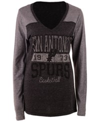 5Th And Ocean Women's San Antonio Spurs Dunk Long Sleeve T Shirt Black Gray