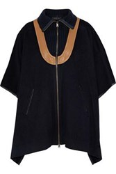 Derek Lam Woman Leather Trimmed Ribbed Knit Paneled Wool And Mohair Blend Cape Midnight Blue