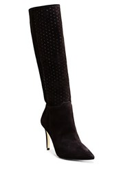 Brian Atwood Mila Perforated Nubuck Knee High Boots Black