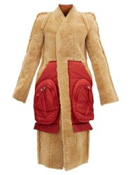Rick Owens Patch Pocket Single Breasted Shearling Coat Tan Red