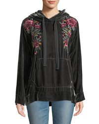 Johnny Was Marmont Floral Embroidered Velvet Hoodie Steel Grey