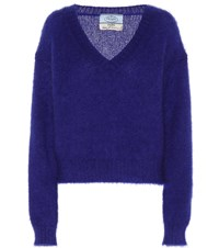 Prada Exclusive To Mytheresa Mohair Blend Sweater Blue
