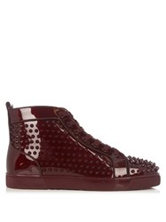 Christian Louboutin Louis Orlato Spike Embellished High Top Trainers Burgundy