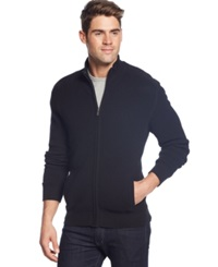 Club Room French Rib Full Zip Cardigan Deep Black