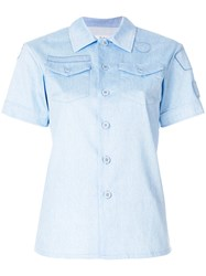 Julien David Embroidered Fitted Shirt Cotton Blue
