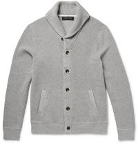 Rag And Bone Beckett Waffle Knit Cotton Cardigan Gray