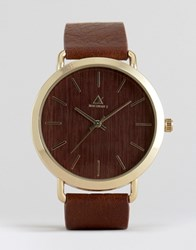 Asos Watch In Wood Effect Brown