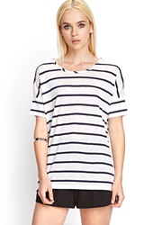Forever 21 Striped Boat Neck Tee White Navy