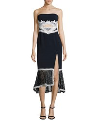 Jonathan Simkhai Windowpane Lace Strapless Midi Dress Navy Combo