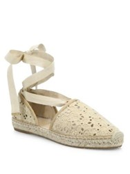 Jimmy Choo Dolphin Lace Up Espadrille Flats Nude