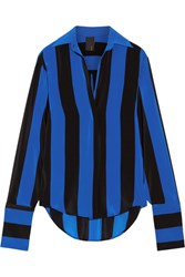 Juan Carlos Obando Striped Silk Crepe De Chine Blouse Bright Blue
