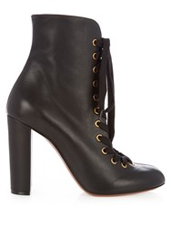 Chloe Miles Lace Up Leather Ankle Boots Black