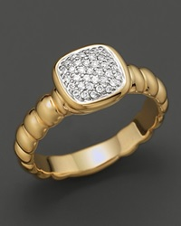 John Hardy Bedeg 18K Gold And Diamond Pave Square Station Slim Band Ring Yellow Gold