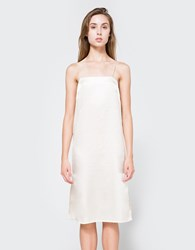 Matin Silk Square Neck Dress In Gold Pale Gold