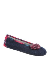 Isotoner Samantha Ballerina Slip On Slippers Navy Blue