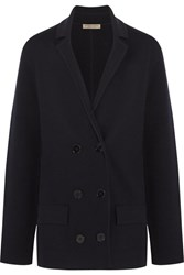 Bottega Veneta Double Breasted Wool Blend Blazer Midnight Blue