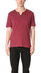 The Kooples Leather Detail Tee Red