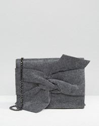Mango Melton Bow Bag Grey