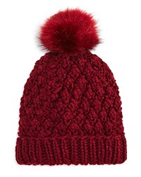 Nor La Knit Beanie With Faux Fur Pom Pom Compare At 59.50 Bordo