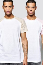 Boohoo 2 Pack Short Sleeve Raglan T Shirts Multi