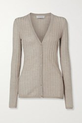 Gabriela Hearst Homer Ribbed Pointelle Knit Cashmere And Silk Blend Cardigan Taupe