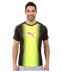 Puma It Evotrg Cat Graphic Tee Black Safety Yellow Men's T Shirt Gray