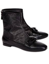 N 21 Black Ostrich Leather Bow Boots