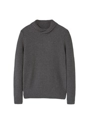 Mango Men's Textured Cotton Wool Blend Sweater Black