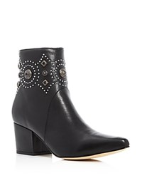 Sigerson Morrison Cailyn Embellished Pointed Toe Booties Black Silver