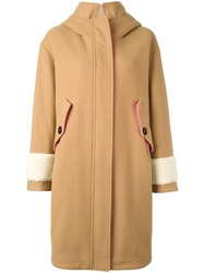 Bazar Deluxe Hooded Shearling Cuff Coat Nude Neutrals