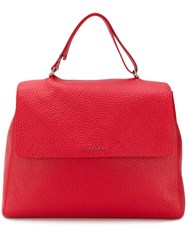 Orciani Large Pebbled Tote Bag Red