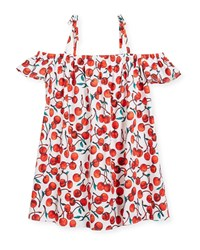 Milly Minis Eden Cherry Print Coverup Dress Red