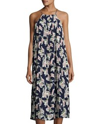 J.O.A. Halter Neck Pleated Floral Print Dress Blue Pattern